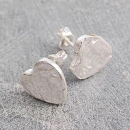 Handmade Silver Heart Textured Stud Earrings - Pobjoy Diamonds