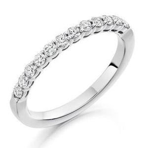 950 Platinum Half Eternity 0.50 CTW Round Cut Diamond Ring F/VS - Pobjoy Diamonds
