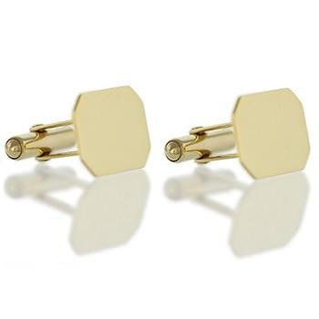 9K Yellow Gold Gents Rectangular Bar Cufflinks - Pobjoy Diamonds