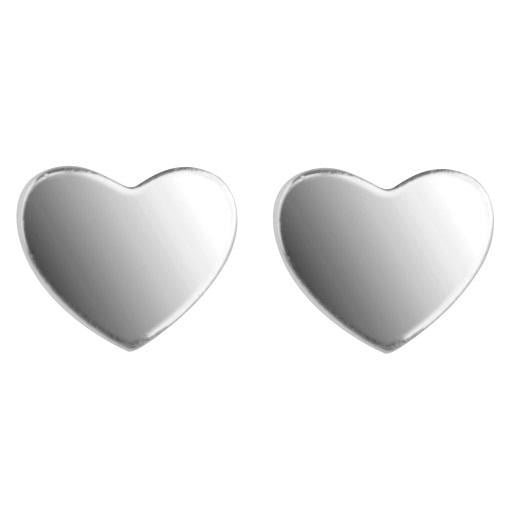 Sterling Silver Plain Heart Shaped Stud Earrings Pobjoy