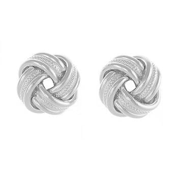 Sterling Silver Textured Knot Earrings From Pobjoy