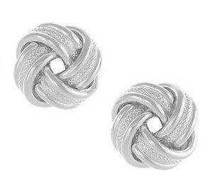 Sterling Silver Textured Knot Earrings - Pobjoy Diamonds