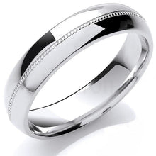 Load image into Gallery viewer, 950 Platinum Court Shape 5mm & Mill Grain Wedding Band - Pobjoy Diamonds