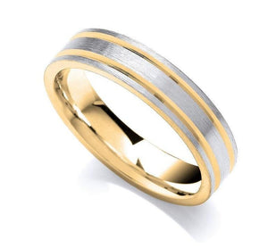 18K Gold & 950 Platinum Flat Court Brushed Finish Wedding Band 5mm