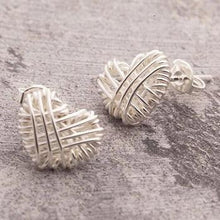 Load image into Gallery viewer, Handmade Silver Woven Heart Earrings - Pobjoy Diamonds