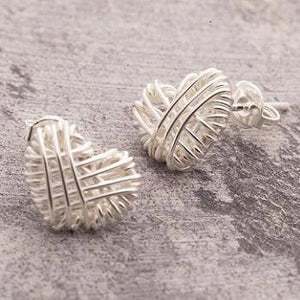 Handmade Silver Woven Heart Earrings - Pobjoy Diamonds