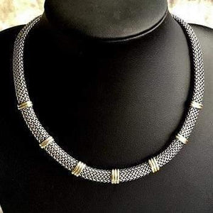 9K Yellow Gold & Sterling Silver Collar Necklace - Pobjoy Diamonds