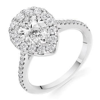 950 Platinum Pear Shape Diamond Halo & Shoulder Ring 1.75 CTW - Sandringham - [product_type] - Pobjoy Diamonds - Pobjoy Diamonds