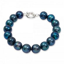 Load image into Gallery viewer, Blue Black Freshwater Cultured Pearl Bracelet With Sterling SIlver Clasp 11 Pearl Diameter Pobjoy