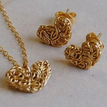 Load image into Gallery viewer, Handmade Gold On Silver Mesh Heart & Stud Earring Set