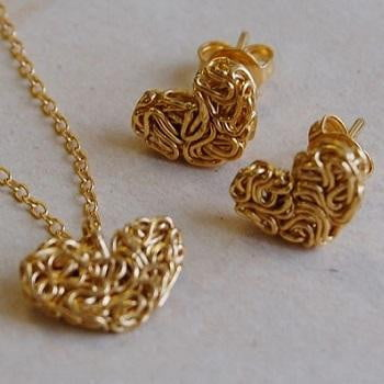 Handmade Gold On Silver Mesh Heart & Stud Earring Set