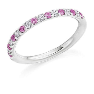 950 Palladium & Pink Sapphire Half Eternity Ring 0.38 CTW - Pobjoy Diamonds