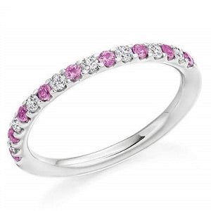 18K White Gold & Pink Sapphire Half Eternity Ring 0.38 CTW