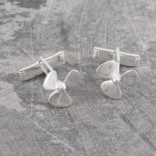 Load image into Gallery viewer, Handmade Sterling Silver Propeller Cufflinks - Pobjoy Diamonds