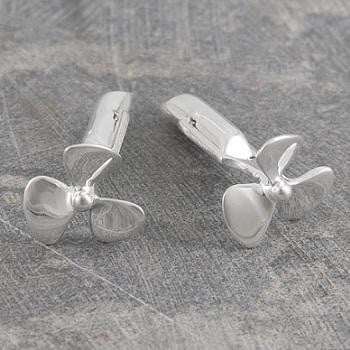 Handmade Sterling Silver Propeller Cufflinks - Pobjoy Diamonds