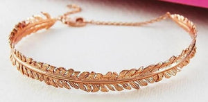 Handmade 18K Rose Gold Plated On Silver Fern Bangle