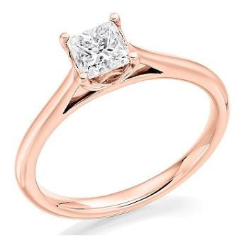 18K Rose Gold 0.60 Carat Princess Cut Solitaire