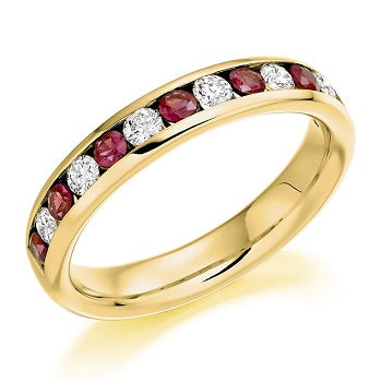 18K Yellow Gold Ruby & Diamond Half Eternity Ring 0.80 CTW