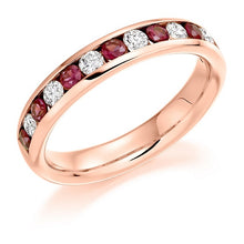 Load image into Gallery viewer, 18K Rose Gold Ruby & Diamond Half Eternity Ring 0.80 CTW