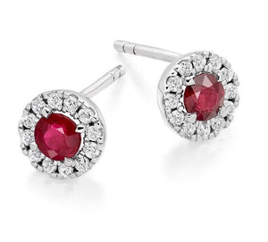 Ruby & Round Brilliant Cut Diamond Ladies Stud Earrings 0.98 CTW From Pobjoy
