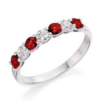 18K White Gold Ruby & Diamond Half Eternity Ring 0.61 CTW