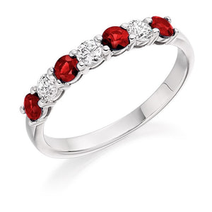950 Platinum Ruby & Diamond Half Eternity Ring 0.61 CTW