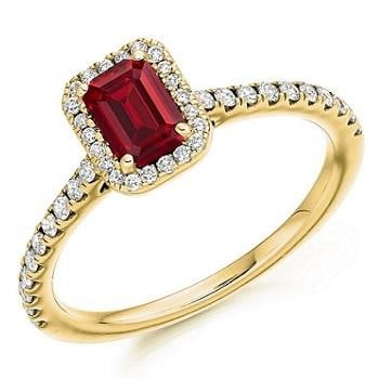 18K Gold Ruby & Diamond Halo Ring 0.80 CTW - Pobjoy Diamonds