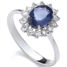 Load image into Gallery viewer, 18K White Gold Diamond & Sapphire Ring