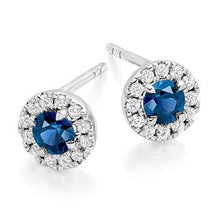 Load image into Gallery viewer, Blue Sapphire & Round Brilliant Cut Diamond Ladies Stud Earrings 18K White Gold - Pobjoy Diamonds