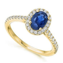 Load image into Gallery viewer, 18K Yellow Gold Blue Sapphire & Diamond Halo 0.63 CTW Ring