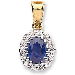9K Yellow Gold, Diamond & Blue Sapphire Pendant - Pobjoy Diamonds