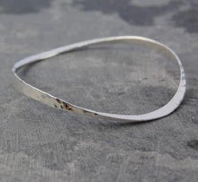 Load image into Gallery viewer, Handmade Sterling Silver Hammered Ladies Bangle - Pobjoy Diamonds