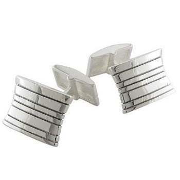 Sterling Silver Shaped & Grooved Cufflinks
