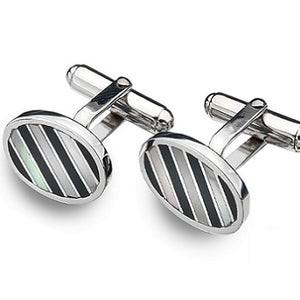 Sterling Silver Gents Black Onyx & Mop Striped Cufflinks