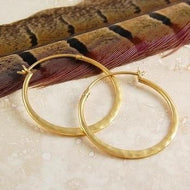 Handmade Gold Plate On Sterling Silver Hammered Hoop Earrings