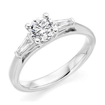 18K White Gold Round Cut Solitaire Ring With Baguettes 0.66 CTW - G/Si1 - Pobjoy Diamonds