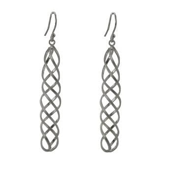 Sterling Silver Spiral Drop Earrings From Pobjoy