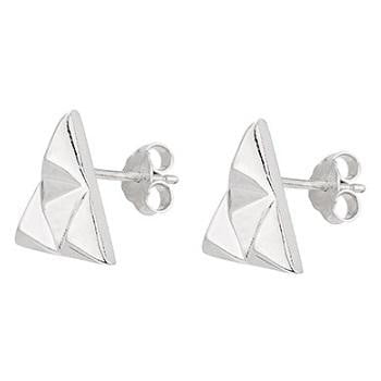 Sterling Silver Triangle Stud Earrings From Pobjoy