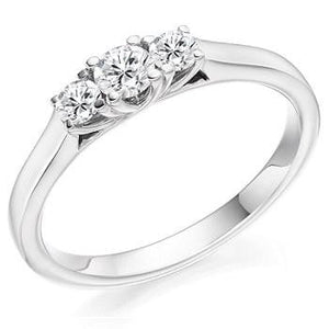 950 Platinum 0.40 CTW Diamond Trilogy Ring F-G/VS - Pobjoy Diamonds