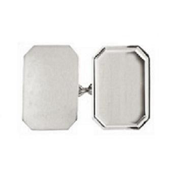 Silver Double Rectangle Cufflinks - Pobjoy Diamonds