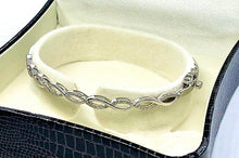 Load image into Gallery viewer, 9K White Gold & Diamond Entwined Ladies Bangle 0.33 CTW