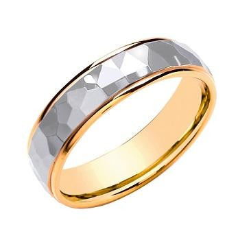 18K Two Colour Gold Faceted 6mm Wedding Band - Pobjoy Diamonds