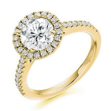Load image into Gallery viewer, 18K Yellow Gold Brilliant Round Cut 1.90 CTW Halo Diamond Ring G/VS - Pobjoy Diamonds