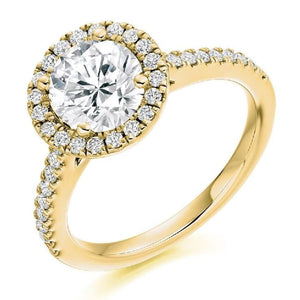 18K Yellow Gold Brilliant Round Cut 1.90 CTW Halo Diamond Ring G/VS - Pobjoy Diamonds