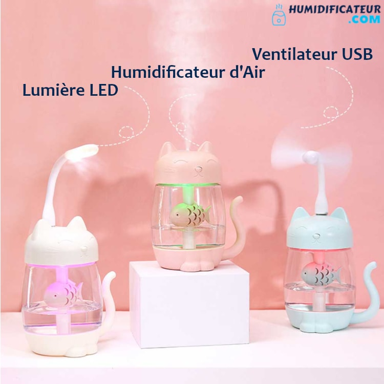 Humidificateur d'Air Bébé - Petit Chaton - LED Ventilateur