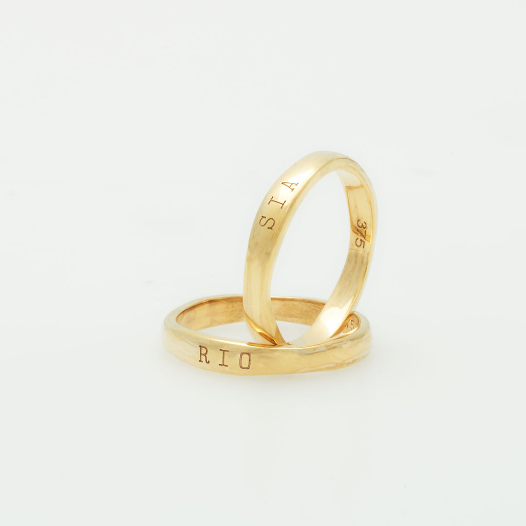 9ct gold custom engraved ring named after Misha Levin's son Jackson. Each personalised ring is engraved with the names of your children and is a best seller in our personalised jewellery collection.