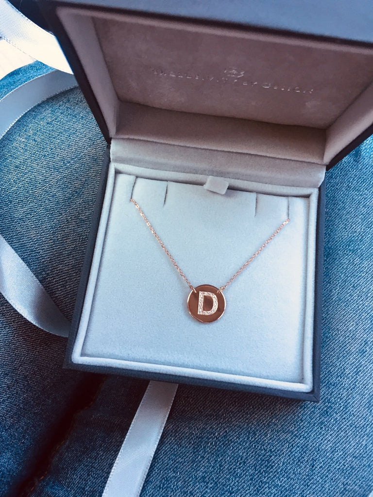 Gold and diamond initial disc pendant, Diamond Letter Disc Pendant