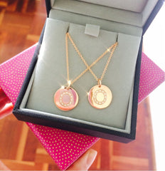 Gold and diamond Initial Disc pendant