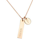 Personalised 9ct Gold Bar and Disc Pendant