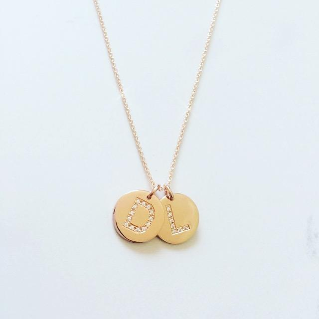 Handcrafted gold and diamond initial disc pendant, Diamond Letter Disc Pendant